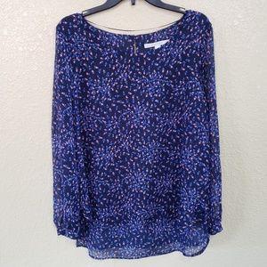 Lauren Conrad Blouse XL LC Pink Blue Floral